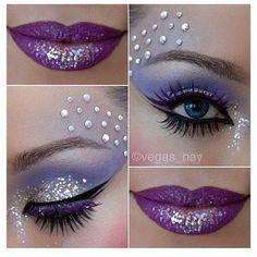 maquillage violet pailleté