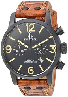 TW Steel Mens Maverick Quartz Stainless and Leather Casual Watch ColorBrown Model MS34 >>> Click image to review more details. (Note:Amazon affiliate link)
