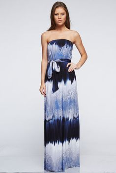 dress betsy boo's boutique maxi dress tie dye strapless paisley blue dress dip dyed