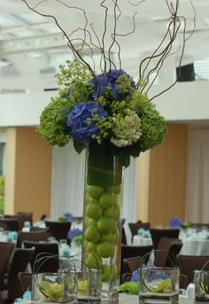 Rehearsal dinner Green flower arrangement