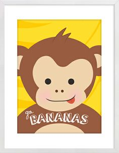 "Monkey ""Go Bananas"" Nursery Wall Print to brighten up your kid's room. Artwork prices start at $7.00. #nurserywallprints #monkey #gobananas"