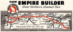 Route of the Great Northern Railroad that carries Joy to Montana. Union Station Chicago, Great Northern Railroad, Pullman Car, West Glacier, Minneapolis St Paul, Train Route, Burlington Northern, Railway Posters, Travel Information