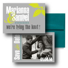 Grey Save the Dates, Teal Save the Dates