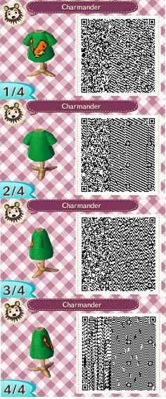 """Animal Crossing QR Code- Charmander Shirt with """"Strongest Against"""" Type as colored bckground pokemon"""