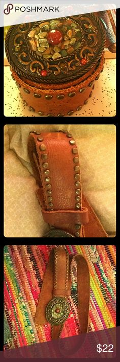 """Studded Junkie Gypsy leather belt with bling. Super nice, soft split leather brown belt with patina brass studs. Double brass snaps for easy buckle change. Super cute 3"""" patina brass oval buckle that is adorned with red corral and light green colored stones.   39"""" length belt ( snapped closed) 30"""" to first hole 5 holes approximately 1"""" apart. Width just tad under 1 1/2"""" Accessories Belts"""