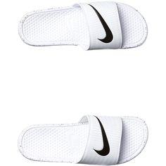 Mens Nike Rio Benassi Swoosh Slide White Cotton ($34) ❤ liked on Polyvore featuring men's fashion, men's shoes, footwear, mens footwear, slides, white, mens slip on shoes, nike mens shoes, mens slipon shoes and mens white slip on shoes