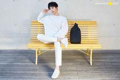 "prkbgm: """" park bogum for mandarina duck ✧ 2017 s/s x "" Kbs Drama, Chair Pose, Joo Hyuk, Bo Gum, Male Poses, K Idols, Sun Lounger, Outdoor Chairs, Normcore"