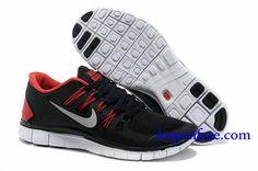 Goedkoop Schoenen Nike Free 5.0 + Heren (kleur:vamp-zwart;binnen-rood;logo en zool-wit) Online Winkel.