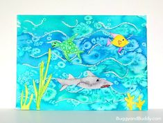 Ocean Art Project for Kids Using Oil Pastels, Watercolor, and Salt