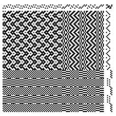 unusual M's & O's design. It's a standard threading, but the treadling is odd in that it produces twill-like sections in the cloth. I entered the draft in my weaving software and corrected a few small errors, and thought you might like to see the result.    AlcestisLow