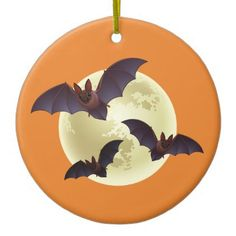 Halloween Bats and Moon Ceramic Ornament - home gifts ideas decor special unique custom individual customized individualized