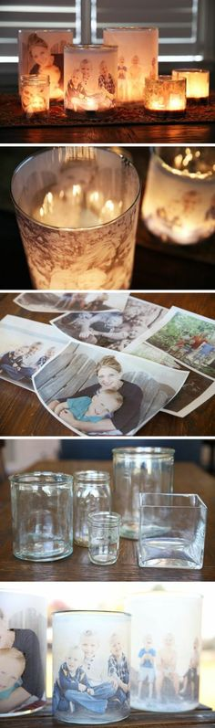 28 Creative Handmade Photo Crafts with Tutorials DIY Glowing Photo Luminaries. Using a blank sheet of vellum, a photo printer, double-sided tape, a hurricane glass and tea lights, you can light up your favorite family photo in your room. Diy Christmas Gifts, Holiday Crafts, Fun Crafts, Diy And Crafts, Christmas Jewelry, Christmas Room, Christmas Images, Decor Crafts, Christmas Decorations