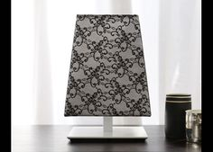 Bring lace into your home with the black & white lace Quadra 'Travel' small table lamp
