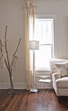 I like the height of the curtain rod. Vintage Whites Blog: Christmas Home Tour 2014