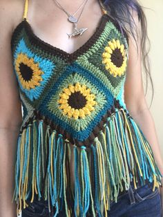 Sunflower Granny Square Festival Crochet Top by SharkbiteStitches