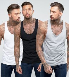 ASOS Tank With Extreme Racer Back 3 Pack SAVE - Multi