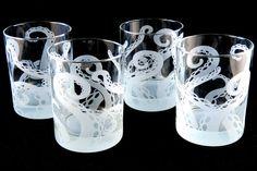 Octopus Tentacles Rocks Glasses - Set of 4 - Cthulhu - Squid - Kraken - Lovecraft - Cephalopod - Custom Etched Tumbler Glass Barware Octopus Kitchen, Etched Glassware, Crystal Glassware, Octopus Tentacles, Drinking Glass, Kraken, Cthulhu, Cool Furniture, Art Decor