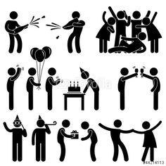 Vektor: Friend Party Celebration Birthday Icon Symbol Sign Pictogram