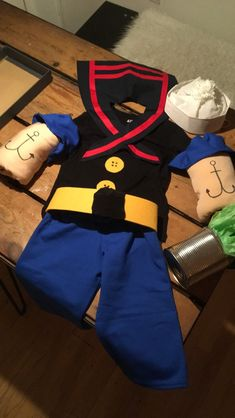 handmade homemade popeye halloween costume boys 6x 7 halloween pinterest kost m kost m. Black Bedroom Furniture Sets. Home Design Ideas