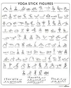 Yoga Stick Figure Learning Chart. Alphabetical by Sanskrit name, includes 3 Sun Salutation variations.