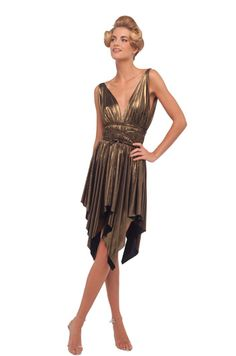 Norma Kamali Lame Mini Goddess Dress