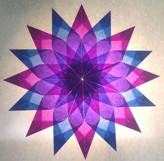 Blau/Lila Stern - 16 Zacken - Sterne aus Transparentpapier   Sterne Basteln - Basteln toller Sterne