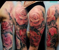Shoulder Realistic Flower Tattoo by Matt Jordan Tattoo Exactly how I want my shoulder tattoo to look like.