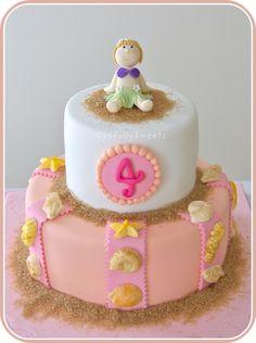 Hula girl birthday cake #seashells #beach