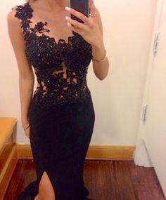 Black lace dress with slit