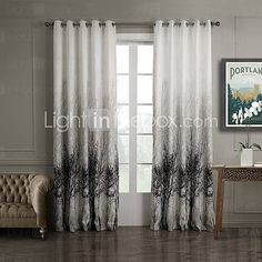 (Two Panels) Ink Painting Style Trees Energy Saving Curtain - USD $ 49.99