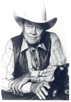 """Ben """"Son"""" Johnson, Jr. (1918 – 1996) was an American Academy Award-winning film actor mainly cast in Westerns in the 1940s and 1950s. He was also a world champion rodeo cowboy, stuntman, and rancher. He was born in Foraker, Oklahoma on the Osage Indian Reservation, of Irish and Cherokee ancestry. Johnson's western film career began with the Howard Hughes film The Outlaw. #Cowboys"""