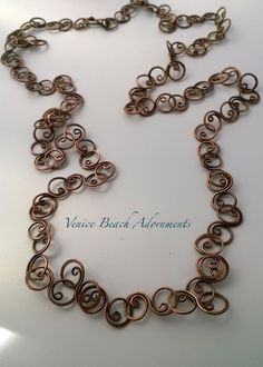 Handmade copper chain with curly links by VeniceBeachAdornment on Etsy