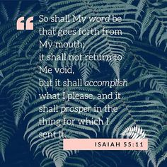 """Photo by Kate's Book Club on June 01, 2020. Image may contain: text that says '"""" So shall My word be that goes bookclub forth from My mouth; it shall not return to Me void, but it shall accomplish what I please, and it shall prosper in the thing for which I sent it. ISAIAH 55:11'  #Regram via @CA5pA7Ul8bu Encouraging Verses, Bible Verses, Your Word, Word Of God, Isaiah 55 11, Verses About Love, My Mouth, Book Club Books, Christian Quotes"""