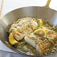 Roasted cod with garlic butter! For this easy cod recipe, simply cook the fish in an ovenproof skillet then top with a savory garlic butter flavored with mustard, shallots, parsley and proscuitto. Roast Cod with Garlic Butter Recipe - VERY easy and good; Seafood Dishes, Seafood Recipes, Dinner Recipes, Cooking Recipes, Healthy Recipes, Easy Cod Recipes, Cod Fillet Recipes, Cod Fish Recipes, Baked Cod Recipes