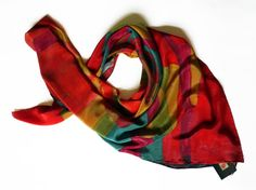 Silk Scarf Luxury Scarf Red Blue Square Wrap by Tornedgedesign