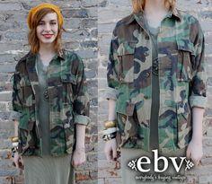#Vintage #Camo #Military #Army #Green #Shirt #Jacket S M L by shopEBV, $48.00