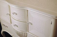 painted wallpaper embossed Lovely Buffet / Dresser / baby changing station / Wedding cake table embossed and distressed