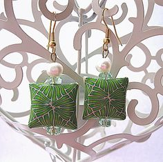 Leafy Green  Polymer Clay Earrings £5.00