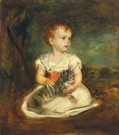 Portrait of Child with Cat by Franz von Lenbach