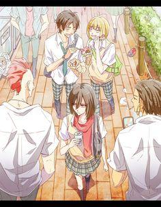 Eren, Mikasa, and Armin. I love imagining them in a school setting. Such a cute little trio ^_^