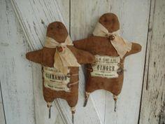 Ginger and Cinnamon Gingerbread Men Primitive by YorkiesPrimitives, $24.95