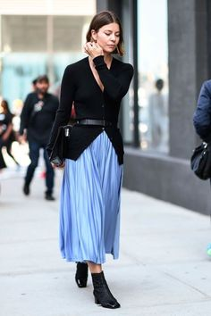 The pleated skirt is ideal for the office if you team it with a structured jacket.