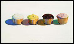 'Four Cupcakes' 1971, Wayne Thiebaud, Oil on Canvas.