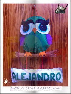 creaciones FOG: nombre en fieltro búho para Alejandro