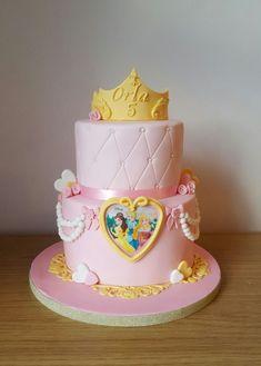 Disney Princess cake with handmade crown
