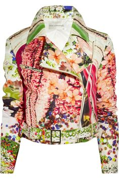 Printed silk-faille biker jacket by Mary Katrantzou / <3<3