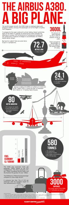 World's Largest Passenger Aircraft, the Airbus A380|Example infographics