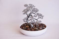 Bonsai wire tree abstract sculpture 100 hand made art by Minskis, $125.00