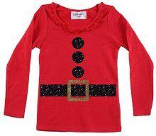 Girls Santa Suit Christmas Shirt