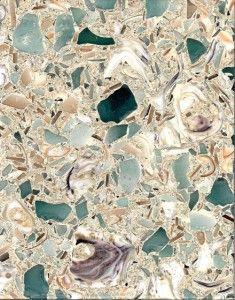vetrostone kitchen countertops made of seashells and beach glass. I'd pick this over granite any day.